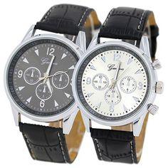>> Click to Buy << Top Brand Luxury New fashion Popular Men's Silver Tone Case Black Faux Leather Strap Quartz Analog Wrist Watch Relogio Feminino  #Affiliate