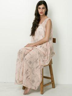 #AMERICANAPPAREL #PINATRIPWITHAA Illustrated Chiffon A-Line Maxi Dress