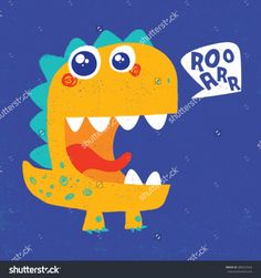 cute dinosaur illustration with texture and typo for baby print