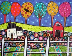 (usa) Farm by Karla Gerard. Folk Art Flowers, Flower Art, Karla Gerard, Farm Art, Arte Popular, Naive Art, Whimsical Art, Rug Hooking, Drawing