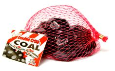Santa's double crisp chocolate coal.  Being naughty never tasted so nice!  Individually wrapped in a mesh bag.  Net wt. 4oz.