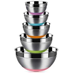 Stainless Steel Mixing Bowls (Set of Non Slip Colorful Silicone Bottom Nesting Storage Bowls by Regiller, Polished Mirror Finish For Healthy Meal Mixing and Prepping - - Fig Cookies, Edible Cookies, Edible Cookie Dough, Cookie Desserts, Cookie Recipes, Gluten Free Cookie Dough, Gluten Free Cookies, Lemon Curd Filling, Gluten Free Banana Bread