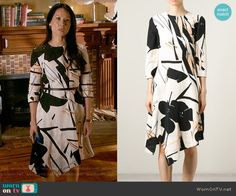 Joan's abstract print asymmetric dress on Elementary.  Outfit Details: https://wornontv.net/55046/ #Elementary
