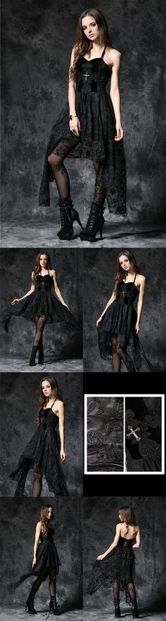 Dark In Love Gothique Elegant Dead Soul Cross Dress with long Lace Net Sides - This beautiful black gothic dress has a bodice of soft black velvet with black cord corset laced detail at the back and a black lace applique with silver tone cross in the centre at the front. The skirt section cascades in two layers, one shorter at the back, a mid length layer all around and the sides have a longer layer of skirt. The skirt fabric is a black net material with a flower pattern embroidered all…