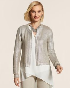 Chico's Foiled Niecy Cardigan  Limited-Edition Fabulous-at-Heart Pin #chicos