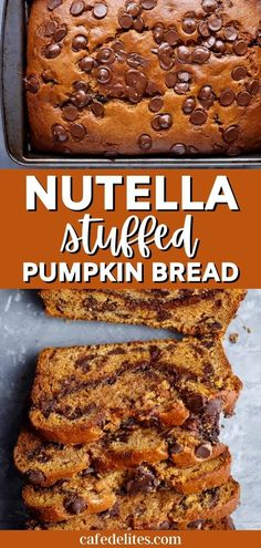 Nutella stuffed desserts are a game-changer, so there's no better way to celebrate fall than with a Nutella Stuffed Pumpkin Bread! This pumpkin dessert is soft and fluffy like a cake, but a dense and… More Pumpkin Chocolate Chip Bread, Pumpkin Bread, Pumpkin Puree, I Love Food, Good Food, Yummy Food, Pumpkin Dessert, Cafe Delites, Nutella