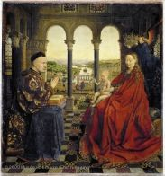 Jan Van Eyck, The Virgin of Chancellor Rolin, H. 0.66 m; W. 0.62 m, 1435,The Louvre (lecture 5.1). This picture depicts a chancellor who is part of the government and considered part of the leisure class as well dressed and rich enough to be visited by the Virgin.