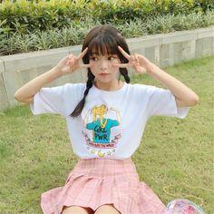 Aliexpress.com: Comprar Neploe Causal Camiseta Mujer Camiseta de Manga Larga Tops Del O cuello moda Loose T Shirts Cartoon Sailor Moon Impresión Top Tee 34055 de top tees fiable proveedores en AAZZ
