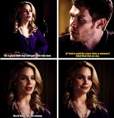 Klaus and Cami- I love their relationship. She's the only person who stands up to him without fear and he actually listens to her.