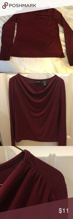🐝Cowl-neck top in a gorgeous wine color🐝a steal! This is a beautiful maroon / wine color. It hits right above the hip bone so it looks great with cropped pants. The neck is universally flattering!  Need some room in my closet so seeking it for a steal! New York & Company Tops Blouses
