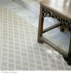 blue sage mosaic tile with marble Ashbury Mosaic in Blue Shadow