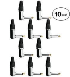 Aurum Cables High Quality 10 Pack 6.35mm 90 Degree Angled Mono Male Solder Adapter