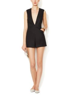 Peggy Linen Deep V-Neck Romper by Tocca at Gilt