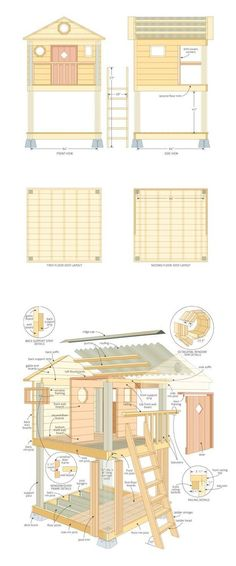 31 Free DIY Playhouse Plans to Build for Your Kids' Secret Hideaway Learn how to build a playhouse for your kids. This is a collection of 31 free DIY playhouse plans with PDFs, videos, and. Kids Playhouse Plans, Outside Playhouse, Backyard Playhouse, Build A Playhouse, Childrens Playhouse, Outdoor Playhouses, Playhouse Windows, Playhouse With Slide, Playhouse Kits