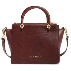 Ted Baker London 'Haylie' Leather & Genuine Calf Hair Crossbody Tote... ($425) ❤ liked on Polyvore featuring bags, handbags, tote bags, oxblood, red tote, red leather tote bag, red leather handbag, leather crossbody tote and leather crossbody