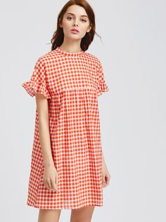 Shop Checkered Frill Sleeve Keyhole Tie Back Smock Dress online. SheIn offers Checkered Frill Sleeve Keyhole Tie Back Smock Dress & more to fit your fashionable needs.