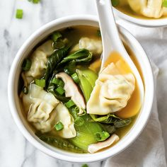 15-Minute Easy Wonton Soup made with frozen wontons.