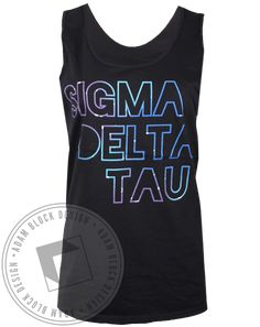 Sigma Delta Tau Galaxy Letters Tank Top, could be cute for space bid day, probably better on a long sleeve.