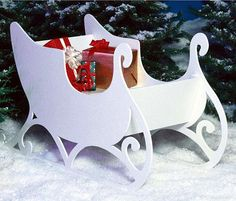 """Santa's Sleigh Project Plan 1 Set of Prints: $13.95 extra set 9.95 Standing 35"""" tall and 56"""" long, this pleasing project works great in the front yard or next to the holiday tree. Add a couple of Reindeer from our Reindeer Project plan and Santa is ready to take off! When the holiday is over, the project comes apart for flat, efficient storage until next year. #Christmas #sleigh #DIY"""