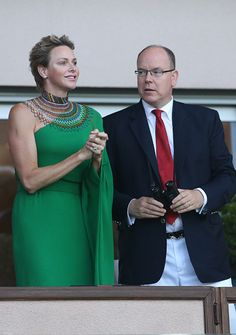 Prince Albert II of Monaco and wife Princess Charlene of Monaco cheer for Wayde van Niekerk of South Africa during his 400m at the IAAF Diamond League Meeting Herculis 2017 on July 21, 2017 in Monaco, Monaco.