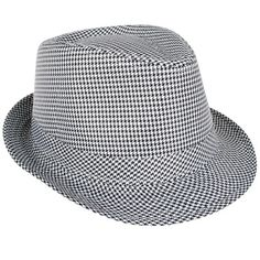 01cd5147133 Black White Houndstooth Check Trilby Fedora Hat Costume Accessory Black And  White