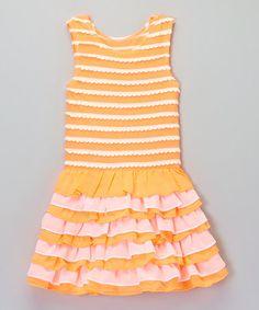 Orange & Pink Scallop Ruffle Dress - Infant, Toddler & Girls #zulily #zulilyfinds  ***********LOVE,LOVE,LOVE************