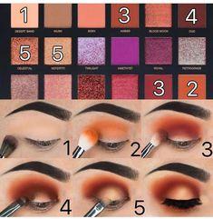 Step by Step Eyeshadow Tutorial using the Desert Dusk Palette by HudaBeauty - Make up - Eye-Makeup Eye Makeup Steps, Smokey Eye Makeup, Eyeshadow Makeup, Face Makeup, Winged Eyeliner, Skull Makeup, Glitter Makeup, Drugstore Makeup, Eyelashes Makeup