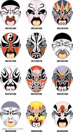 Various masks used in Kabuki theater. Kabuki is a type of Japanese theater, performed entirely by men. The plays often depict ancient stories. Chinese Opera Mask, Chinese Mask, Geisha, Kitsune Maske, Turandot Opera, Arte Peculiar, Japanese Mask, Chinese Element, Ligne Claire