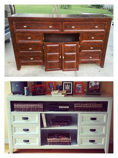 Woodworking Trendy Repurposed Furniture Entertainment Center Kommode Makeovers Choosing Pots And Refurbished Furniture, Repurposed Furniture, Furniture Projects, Diy Furniture, Diy Old Furniture Makeover, Blue Furniture, Apartment Furniture, Furniture Design, Entertainment Center Kitchen