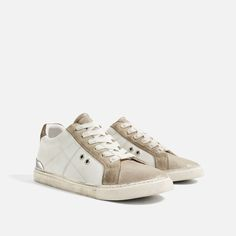 CONTRAST LEATHER SNEAKERS-Sneakers-SHOES-WOMAN | ZARA United States