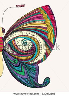 Explore high-quality, royalty-free stock images and photos by Maria_Galybina available for purchase at Shutterstock. Doodle Art Drawing, Zentangle Drawings, Mandala Drawing, Girly Drawings, Cool Art Drawings, Art Drawings Sketches, Dibujos Zentangle Art, Butterfly Drawing, Butterfly Illustration