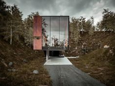 A 'House for a Photographer' by Hyde + Hyde Architects - Looking into the quarry site from the main entrance.