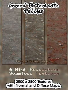 6 Seamless Ground Texture with Pebbles- Normal and Diffuse Maps.High Quality jpg backgrounds: 2500 x 2500 x 300 dpi.  Seamless ground textures with colourful pebbles are great to spice up your renders.