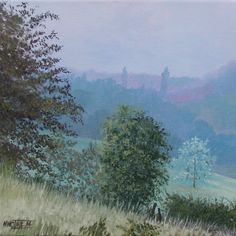 'Misty Morning, Le Manoir de Gurson' by Murray Ince. Mist rising in the early morning over a small lake in a wooded valley in the Bergerac region in the Aquitaine, France. Pastel colours for a pastel painting. 40 x 40 cm.