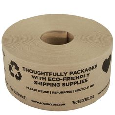 """450 ft - Water-Activated Tape - Kraft Paper Reinforced - Printed """"Thoughtfully Eco-Friendly""""- Single Roll - My best baby products list Biodegradable Packaging, Biodegradable Products, Packaging Solutions, Paper Tape, Packaging Design, Packaging Ideas, Kraft Packaging, Paper Packaging, Pretty Packaging"""