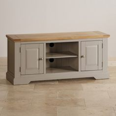 St Ives Natural Oak and Light Grey Painted Widescreen TV Cabinet