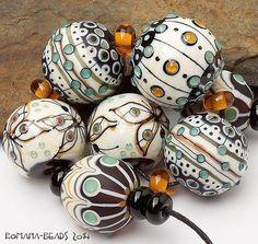 "Artisan Lampwork Beads by Romana - ""Autumn Butterflies"" Glass Jewelry, Beaded Jewelry, Glass Beads, Jewellery, Polymer Clay Beads, Lampwork Beads, Bijoux Diy, Handmade Beads, How To Make Beads"