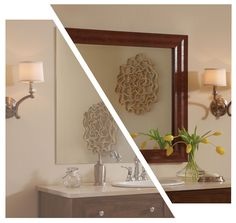 pretty framing a bathroom. turn your plain bathroom mirror into a pretty framed with MirrorMate  Interiors Pinterest Bathroom mirrors Dark walnut and inspiration
