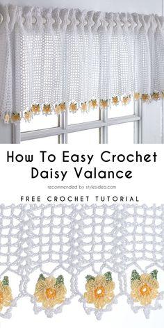 Curtain Daisy Valance Free Crochet Pattern #crochet #forhome #freepattern #curtain #crochetcurtain