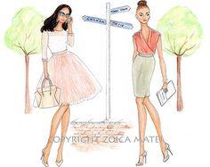 Ilustración de moda personalizado-Acuarela retrato moda por Reani