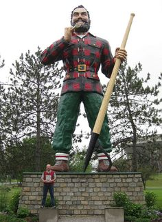 Statue of Paul Bunyan in Bangor, Maine. Looks much smaller now with the new, huge Cross Center behind him.