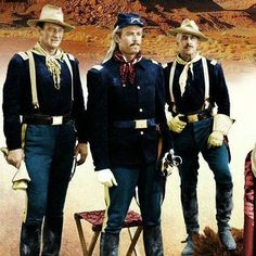 Rare colour photo of John Wayne and Henry Fonda. I think the movie is Fort Apache. Movie Photo, I Movie, Movie Stars, American Indian Wars, American Civil War, Westerns, Francois Truffaut, John Wayne Movies, Henry Fonda