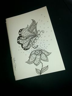 Illustrated notebook cover, zentangle design. Diy notebook A6 on recycled paper. Butterfly #04