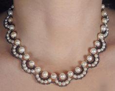 Molde para tejer un collar de perlas