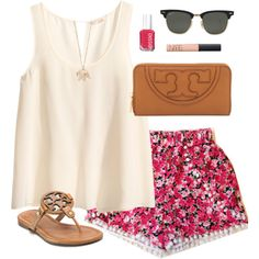 pink floral by classically-preppy on Polyvore featuring polyvore, fashion, style, H&M, Tory Burch, Ray-Ban, NARS Cosmetics and Essie