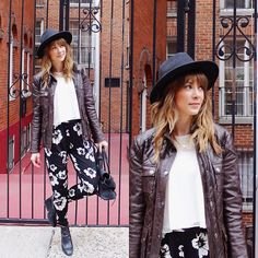 Asos Floral Pants, Coach Leather Jacket, River Island Flowy Top, Zara Wedge Booties, Club Monaco Hat, Speakable Choose Joy Necklace
