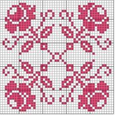 Cross Stitch Cards, Cross Stitch Rose, Cross Stitch Borders, Cross Stitch Flowers, Cross Stitch Designs, Cross Stitching, Cross Stitch Embroidery, Crochet Motifs, Crochet Diagram