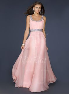 Abendkleider - $160.04 - A-Linie/Princess-Linie U-Ausschnitt Bodenlang Chiffon Abendkleid mit Perlen verziert (0175057251)