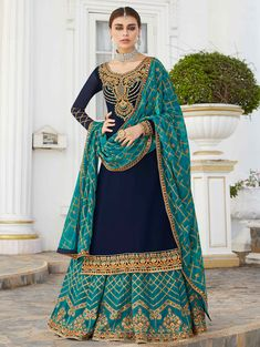 Exclusive collection and best offers to buy designer latest lehenga choli. Order faux georgette embroidered, lace and resham work readymade lehenga choli for ceremonial, festival and wedding. Lehenga Suit, Lehenga Choli, Silk Sarees, Churidar Suits, Anarkali Suits, Salwar Kameez, Embroidered Kurti, Embroidered Clothes, Choli Designs