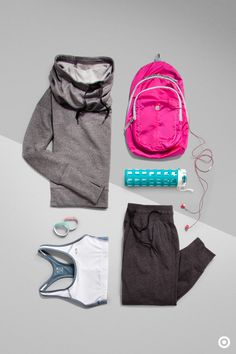 Get to and from the gym without giving up style with the right layers and workout accessories to complete your look. Dress for just about any workout with this C9 Champion Power Core Racer Sports Bra and Jogging Pant. Pack a hoodie, headphones and water in a backpack with lots of pockets so you'll have a place for everything.